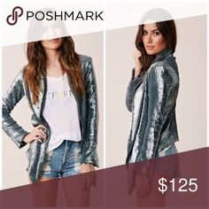 RARE PLANET BLUE LIFE BLU MOON SEQUIN DRAPE JACKET Gorgeous fully lined pewter silver drape jacket from Blu Moon. XS fits like an XS/S as this is drapey, so it looks equally as good on US 2/3/4. Amazing dressed up or down. New with tags and bag. Blu Moon Jackets & Coats