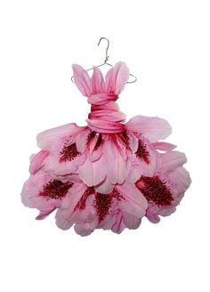 Dress created using flower petals by artist Sandra Alcorn. Perfect for a garden fairy!