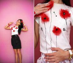 DIY shirt with cute flowersSo cute! DIY shirt with cute flowers Sewing Hacks, Sewing Tutorials, Sewing Crafts, Sewing Projects, Sewing Patterns, Ideias Diy, Diy Dress, Shirt Dress, Diy Clothing
