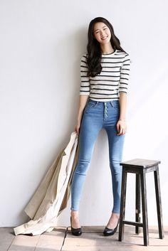 Stripe 3/4 Sleeve Top
