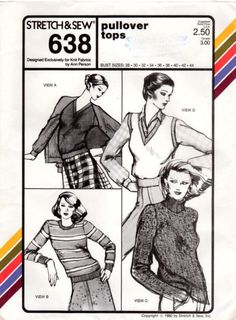 Vintage Stretch & Sew #638 Pullover Tops Uncut #StretchSew