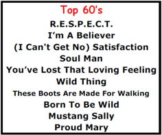 Top Karaoke Songs - 1960's Best Karaoke Songs - http://allpartystarz.com/pa-dj/lancaster-karaoke-dj/top-karaoke-songs/top-karaoke-songs-1960s-best-karaoke-songs.html