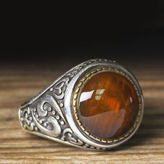 925K Sterling Silver Men s Jewelry Ring Orange Amber 11,75 US Size $36.80