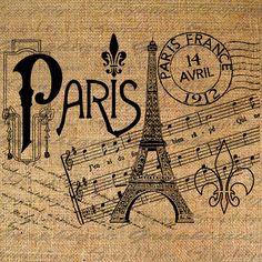 PARIS Eiffel POST MARK Music Writing Digital Collage Sheet Download Burlap Fabric Transfer Iron On Pillows Totes Tea Towels No. 4063. $1.00, via Etsy.