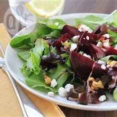 Rode biet en geitenkaas salade @ allrecipes.nl