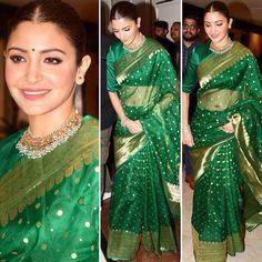 Designer Sarees Wedding, Bollywood Designer Sarees, Saree Wedding, Bollywood Fashion, Bollywood Saree, Bridal Sarees, Designer Lehanga, Saree Fashion, Anushka Sharma Saree