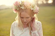 flower crown Photoshoot by Marianne Taylor, Featuring Dress Designer Minna Hepburn