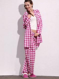 pink & white checked pajamas