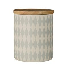 Bloomingville - Jar with Bamboo Lid - Diamond on White - 10x12.3cm