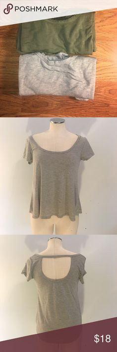 AE scoop back tees - lot of 2 Part of the American Eagle Outfitters Don't Ask Why collection. Tees are tagged one size but fit like a M. Will consider reasonable offers. Bundle and save!!! American Eagle Outfitters Tops Tees - Short Sleeve