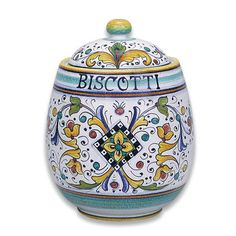 Italian Pottery Firenze Biscotti Jar. Hand made and hand painted Italian ceramic jar from Deruta, Italy.