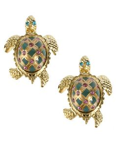 Betsey Johnson Gold-Tone Turtle Stud Earrings