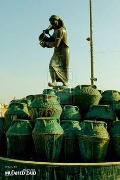 تمثال كهرمانة وهو احد اعمال النحات محمد غني حكمت kahramana Statue in Baghdad - Iraqi sculptor Mohammed Ghani Hikmat