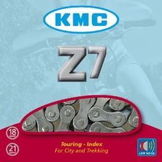 KMC Z7 7 Speed Chain with 116 Links Chains A 7 speed chain ideal for all types of bikes that run a 7 speed system. http://www.MightGet.com/january-2017-11/kmc-z7-7-speed-chain-with-116-links-chains.asp