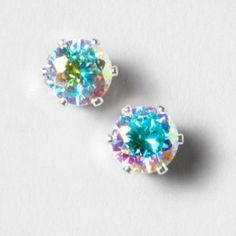 Iridescent CZ 7mm Magnetic Earrings