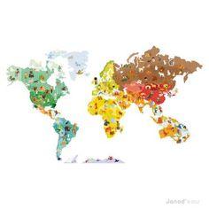 Fresh Magnetische Wandsticker Weltkarte mit Magneten von Janod online kaufen bei Little Roomers