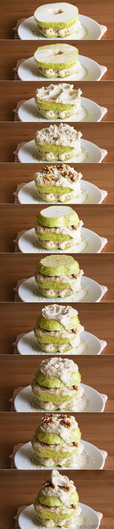 Whole food pure awesomeness! Pear, walnut and mock banana ice cream tower, with almond meal and honey. {Raw. Vegan}