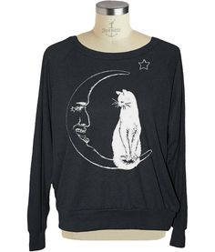 MOON CAT Womens raglan pullover American Apparel by skipnwhistle