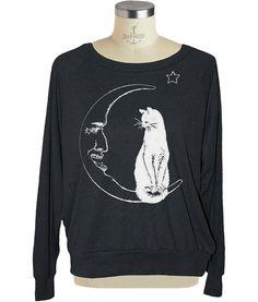 MOON CAT Womens raglan pullover American Apparel witch (sm med lg )