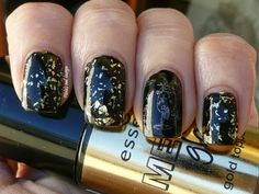 New Year's Eve manicure ft. Essence Steel-ing the scene over black and Layla Hologram Effect Gold Idol stamped over black