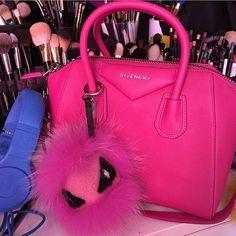 Fendi key charm eye tria in hot pink fur and sheepskin 68f5155be9aa3