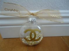CHANEL INSPIRED CLEAR GOLD CC CHRISTMAS TREE ORNAMENT GOLD CHANEL RIBBON PEARLS SMALL