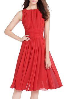MILEEO Damen Chiffon Kleid Knielang mit Plissee-Falten Ärmellos Cocktailkleid Elegant Rot,Gr.36