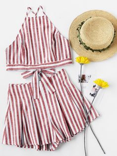 Shop Crisscross Tie Back Striped Cami Top And Pleated Shorts Set online. SheIn offers Crisscross Tie Back Striped Cami Top And Pleated Shorts Set & more to fit your fashionable needs.