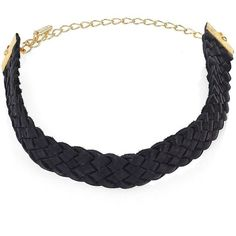 Ettika Woven Leather Choker (€46) ❤ liked on Polyvore featuring jewelry, necklaces, apparel & accessories, black, 18k jewelry, 18k necklace, leather necklace, leather choker and choker jewelry