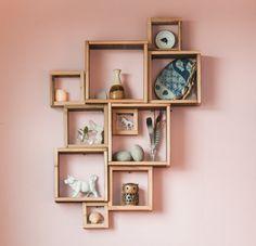 Barn wood shadow boxes / Modular square shelves /. $109.00, via Etsy.