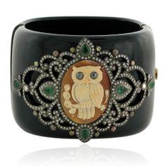 Amazon.com: 54*59mm Diamond Pave Gemstone Cameo Design Bangle Bracelet Antique Style Jewelry: Jewelry