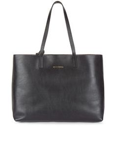 Black Leather Strauss Reversible Tote