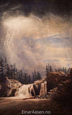 Watercolor landscape from Hyttfossen in Norway Einar Aasen Watercolor Portraits, Watercolor Paintings, Watercolour, Watercolor Landscape, Landscape Paintings, Original Art, Original Paintings, Pathways, Waterfalls