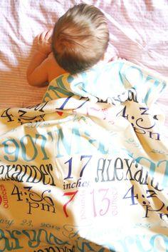 """The Margot"" Personalized Birth Story Keepsake Blanket"