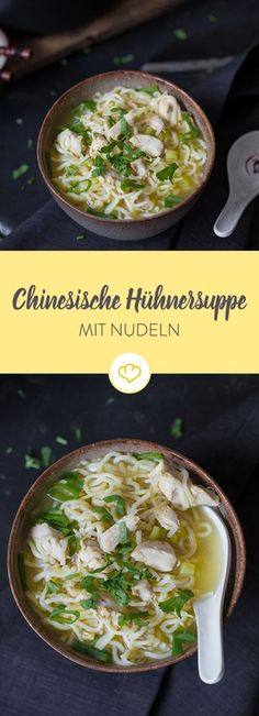 This Chinese chicken soup with noodles can be prepared really quickly and still consists only of fresh ingredients. Simple, tasty and healthy! Quick chinese chicken soup with noodles Asta Schmidt astaschmidt Essen! This Chinese chicken soup with no Noodle Recipes, Soup Recipes, Chicken Recipes, Chinese Chicken, Chinese Food, Asian Chicken, Healthy Chinese, Asian Recipes, Healthy Recipes