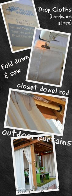 drop cloth outdoor curtain tutorial - a good idea to achieve privacy in an open shelter outdoors by silvia