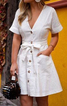 Cute Summer Outfits You Should Own Vol. 1 45 Cute Summer Outfits You Should Own Vol. 1 45 Cute Summer Outfits You Should Own Vol. White Summer Outfits, Summer Dress Outfits, White Dress Outfit, White Dress Summer, Cotton Summer Dresses, Dresses For Summer, White Dress Casual, Simple Dress Casual, Casual Cotton Dress