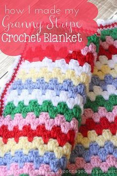 Granny Stripe Blanket Pattern by Daisy Cottage Designs, via Flickr(cool pattern to use for pillows & larger blanket)