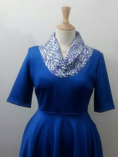 Items similar to African fashion,Ankarastyle Royal blue full circle dress with Africanprint yoke with rolled collar. Flare dress on Etsy Circle Dress, Kitenge, Handmade Dresses, Fitted Bodice, Flare Dress, African Fashion, Favorite Color, Royal Blue, Feminine