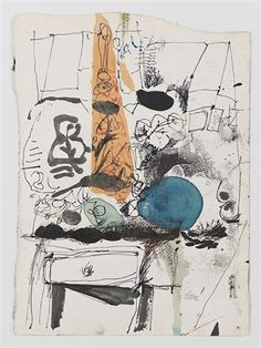 Antoni Clavé, Table aux fruits, 1966, India ink and watercolor on paper
