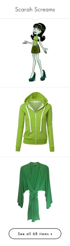 """Scarah Screams"" by darklinghatter ❤ liked on Polyvore featuring tops, hoodies, green zip up hoodie, sweatshirt hoodies, fleece hooded sweatshirt, green top, fleece hoodie, dresses, zip front dress y long sleeve kimono"