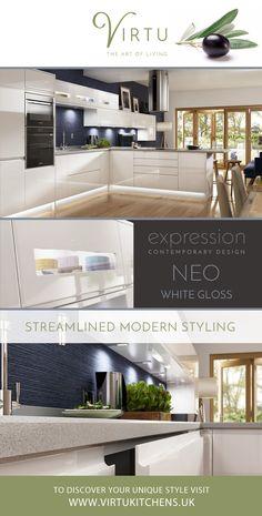 Neo White Gloss Contemporary Kitchen. Streamlined Modern Styling. #VirtuKitchens