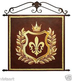 """Oil Painting On Canvas Tapestry W/Metal Rods 36""""x36""""- Fleur de Lis New Orleans"""
