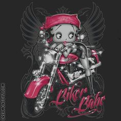 Biker Babe MORE Betty Boop Images http://bettybooppicturesarchive.blogspot.com/  ~And on Facebook~ https://www.facebook.com/bettybooppictures   Biker Betty Boop with angel wings on her motorcycle #Saying