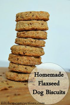 Homemade Flaxseed Dog Biscuits #pet #recipe #DIY
