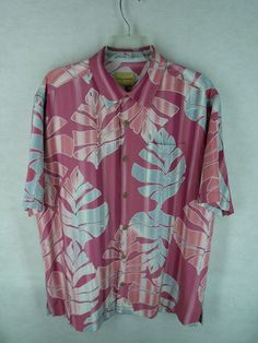 Tommy Bahama Mens Pink Blue Tropical Floral Short Sleeve Silk Button Up Shirt M | eBay