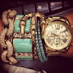 turquoise + gold + claw bracelet + arm party