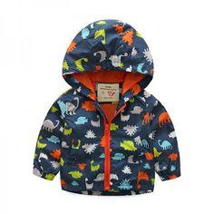 Navy Dinosaur-Themed Zip-Up Hooded Jacket for Baby & Boys
