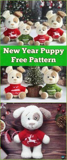 Crochet New Year Puppy Dog Amigurumi Free Pattern - Amigurumi Puppy Dog Stuffed Toy Patterns