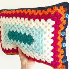 makingpolly's #crochet rectangle granny cushion